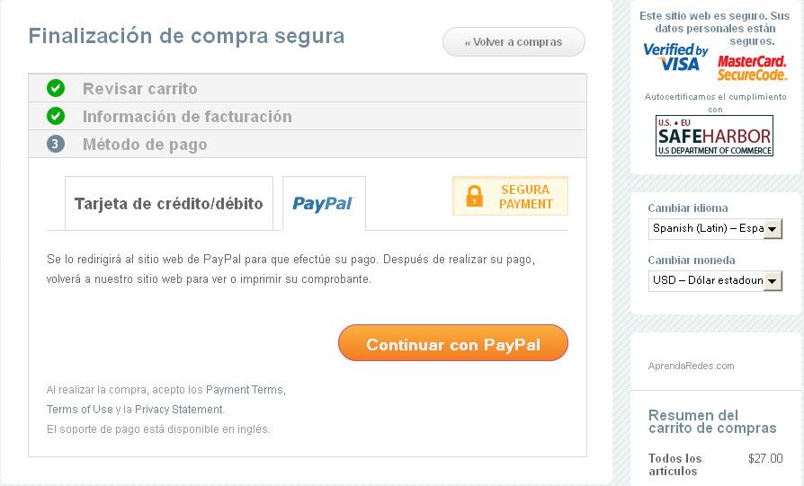 Cualquier Producto Digital se puede pagar tambien con Paypal, en el momento de elegir el método de pago hacer clic en el tab PAYPAL tal como se muestra en la imagen